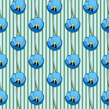Seamless floral print of bright blue tulips, a background of vertical light blue, green and white stripes. Great for decorating fabrics, textiles, gift wrapping, printed matter, interiors, advertising
