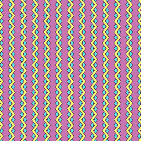 Seamless geometric pattern of yellow and blue zigzags, magenta background. Great for decorating fabrics, textiles, gift wrapping design, any printed materials, advertising, or other design. Çizim