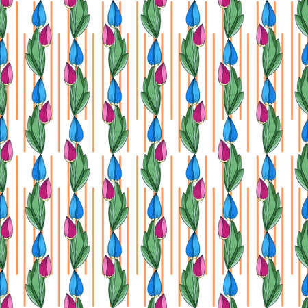 Seamless floral print of bright blue and pink tulip buds, white background with a fence of orange stripes. Great for decorating fabrics, textiles, gift wrapping, printed matter, interiors, advertising Stock Illustratie