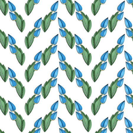 Seamless floral print, vertical borders from blue tulip buds, green leaves, white background. Great for decorating fabrics, textiles, gift wrapping design, any printed materials, including advertising