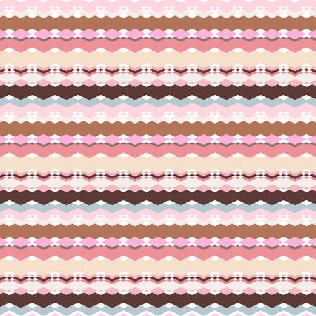 Seamless geometric print, horizontal color borders of rhombuses, zigzags and other broken lines. Great for decorating fabrics, textiles, gift wrapping, printed matter, interiors, advertising.