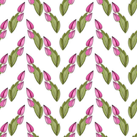 Seamless print of tulip buds, vertical borders of bright pink flowers and green leaves. White background. Great for decorating fabrics, textiles, gift wrapping, printed matter, interiors, advertising.