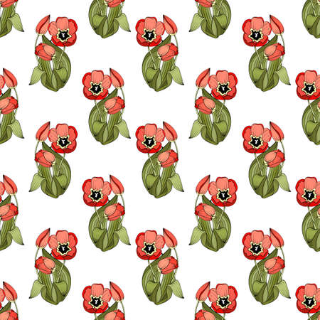 Seamless floral pattern, bouquets of red tulips and their buds, green leaves, white background. Great for decorating fabrics, textiles, gift wrapping, printed matter, interiors, advertising. Stock Illustratie