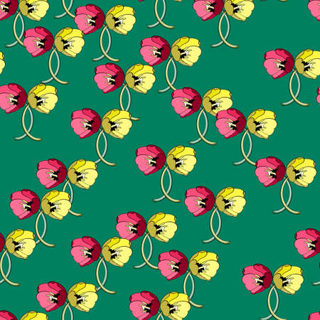 Seamless floral print of bright red-pink and yellow tulips on a green background. Great for decorating fabrics, textiles, gift wrapping, printed matter, interiors, advertising.