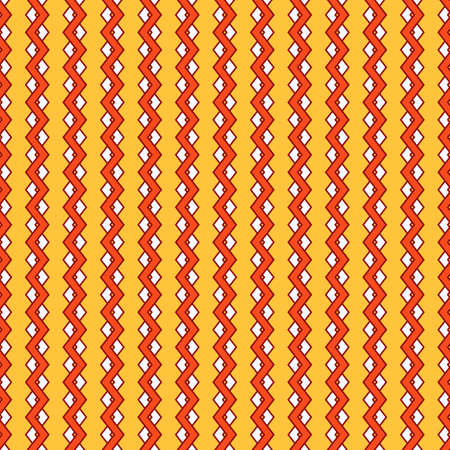 Seamless geometric pattern of white and pomegranate vertical zigzags on a yellow background. Great for decorating fabrics, textiles, gift wrapping, printed matter, interiors, advertising.