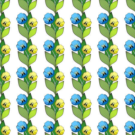 Seamless floral print, vertical blue and yellow tulips borders. Bouquets of two flowers with green leaves, white background. Fashionable decoration of any of your bold advertising projects. Ilustração