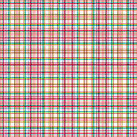 Checkered seamless pattern, subtle bright pink, turquoise and yellow-green stripes, white background. Great for decorating fabrics, textiles, gift wrapping, printed matter, interiors, advertising. Stock Illustratie