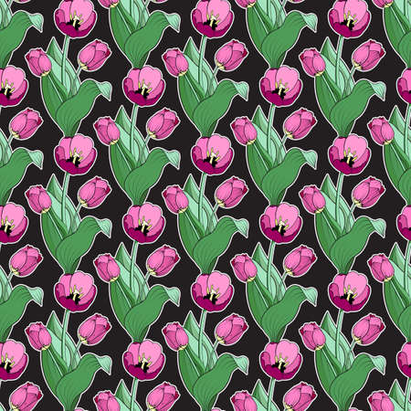 Seamless floral print of bright purple-pink tulips, large bouquets of three flowers with white outline, black background. Fashionable and glamorous decoration of any of your bold advertising projects.