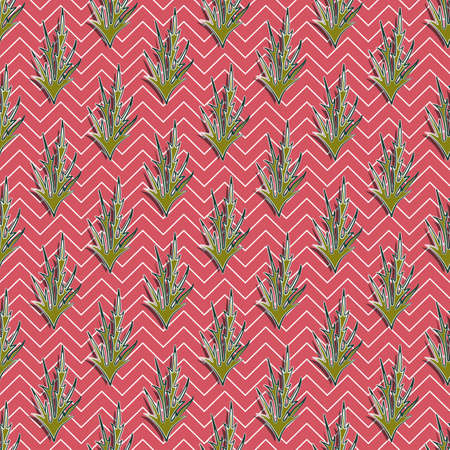 Olive thorns seamless pattern with dark and light strokes, terracotta background with white zigzags. Great for decorating fabrics, textiles, gift wrapping, printed matter, interiors, advertising.
