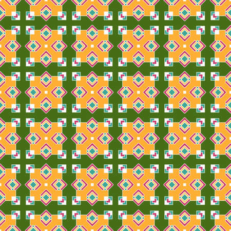 Bright seamless ethnic pattern, a beautiful intersection of colored rhombuses and squares, on a green background. Great for decorating fabrics, textiles, gift wrapping, printed materials, advertising.