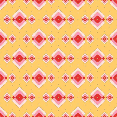 Bright oriental motif for a seamless print of rhombuses in pink and red, gold gradient outline. Yellow background. Great for decorating fabrics, textiles, gift wrapping, printed materials, advertising Zdjęcie Seryjne - 162227185