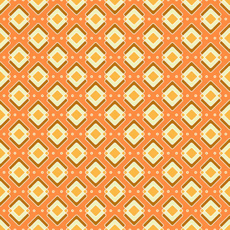 Rhombuses seamless pattern in yellow-orange colors. Bright geometric print with orange background. Great for decorating fabrics, textiles, gift wrapping, printed matter, interiors, advertising.