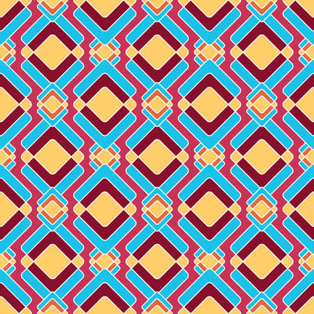 Bright rhombuses in oriental style, seamless geometric pattern in red, blue and yellow colors, on a raspberry background. Fashionable and glamorous decoration of any of your bold advertising projects.