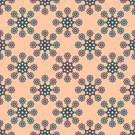 Seamless geometric print, bright curly stars in turquoise and red with white tones, apricot background. Great for decorating fabrics, textiles, gift wrapping, printed matter, interiors, advertising.