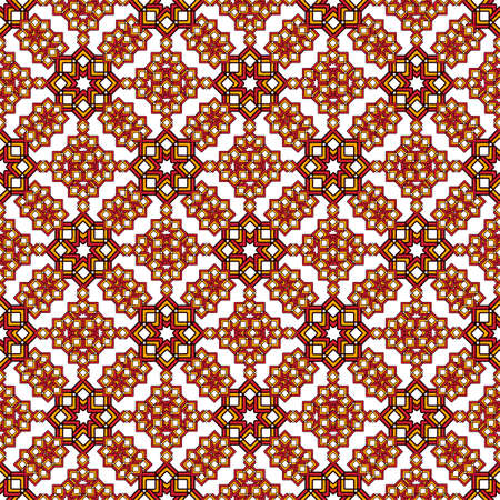 Bright oriental arabesque made of curly stars in reds and browns. Seamless pattern on a white background. Great for decorating fabrics, textiles, gift wrapping, printed matter, interiors, advertising.