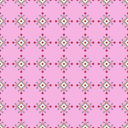 Seamless geometric print in ethnic style, colored curly elements from squares and rhombuses, pink background. Great for decorating fabrics, textiles, gift wrapping, printed materials, advertising.