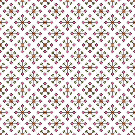 Abstract snowflakes seamless pattern, diagonal print, small squares and rhombuses on a white background. Great for decorating fabrics, textiles, gift wrapping, printed matter, interiors, advertising.