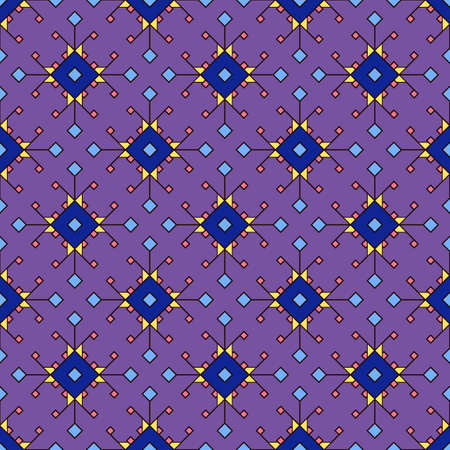 Dark seamless print of colored rhombuses, geometric texture on a purple background. Great for decorating fabrics, textiles, gift wrapping design, any printed materials, advertising, or other design.