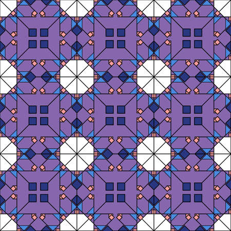 Seamless geometric pattern in dark colors. Abstract tiles from decorative elements of square shapes, rhombuses and squares, purple background. Ideal for any your bold design or advertising project.