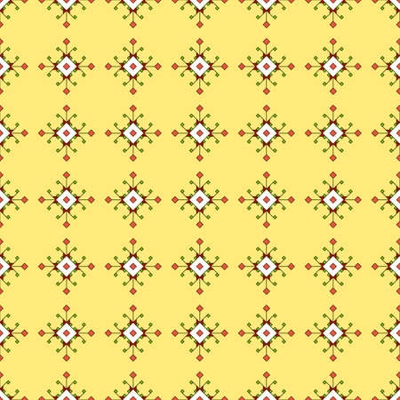 Seamless pattern of colored decorative geometric elements, squares and rhombuses of different sizes, yellow background. Fashionable and glamorous decoration of any of your bold advertising projects.
