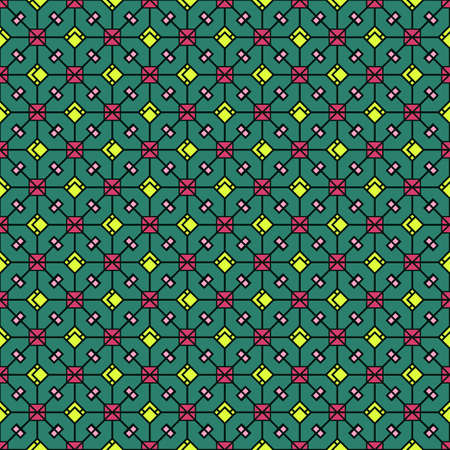 Vector abstract pattern of bright colored squares and rhombuses on top of a black contour mesh, geometric print on a mint background. For the manufacture of modern, beautiful and quality products.