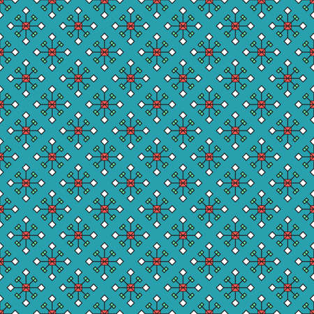 Seamless ornament of abstract snowflakes, colored squares and rhombuses on blue