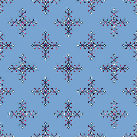 Seamless pattern of small rhombuses and squares on blue