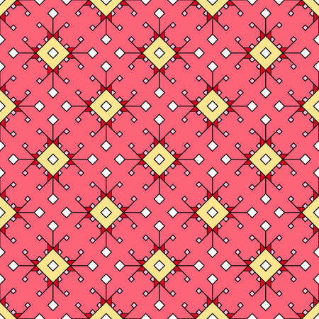 Modern seamless geometric texture of a scattering of squares and rhombuses in red and pink tones. Great for decorating fabrics, textiles, gift wrapping design, any printed materials and advertising.