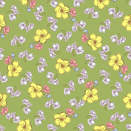 Floral spring seamless pattern, hand drawn yellow, pink and pale blue flowers, olive green background. Great for decorating fabrics, textiles, gift wrapping, printed matter, interiors, advertising.