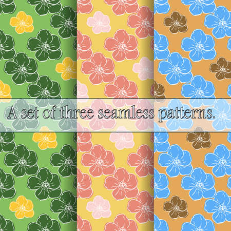 Set of three seamless floral patterns. Large bright hand-drawn flowers, light contour, careless lines. Great for decorating fabrics, textiles, gift wrapping, printed matter, interiors, advertising.