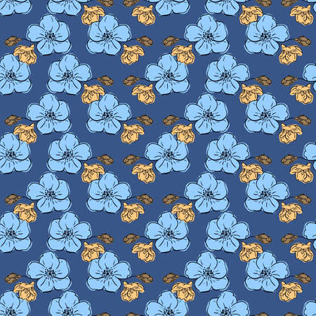 Floral seamless pattern, large and small flowers and buds in blue and brown colors, blue background. Great for decorating fabrics, textiles, gift wrapping, printed matter, interiors, advertising.