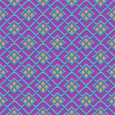 Bright seamless geometric print, abstract curly blue mesh with orange rhombuses, fuchsia background. Great for decorating fabrics, textiles, gift wrapping, printed matter, interiors, advertising.