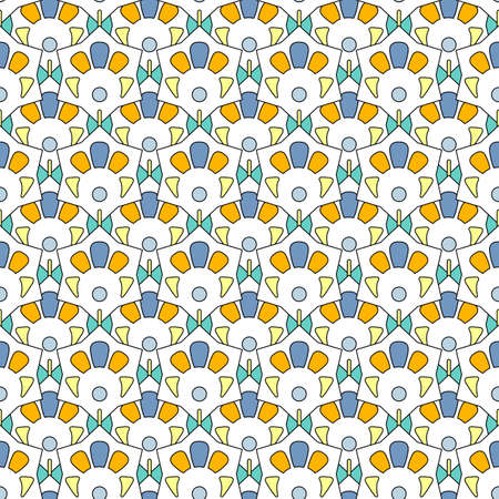 Seamless pattern of abstract geometric elements in pastel colors. Colored stars with a white background. Great for decorating fabrics, textiles, gift wrapping, printed matter, interiors, advertising.