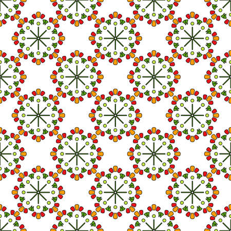 Bright seamless abstract pattern, round mosaic elements in green, red and yellow colors, white background. Great for decorating fabrics, textiles, gift wrapping, printed matter, interiors, advertising