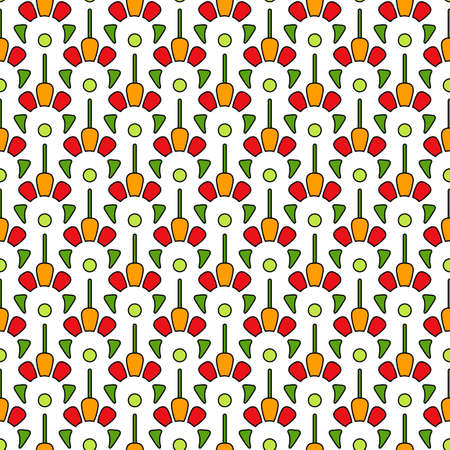 Bright spring print on a white background. Seamless pattern of large abstract flowers in green, red and orange colors. Fashionable and glamorous decoration of any of your bold advertising projects.
