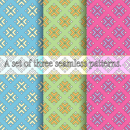 A set of three seamless patterns, bright colored geometric prints from elements of a square shape. Great for decorating fabrics, textiles, gift wrapping, printed matter, interiors, advertising.