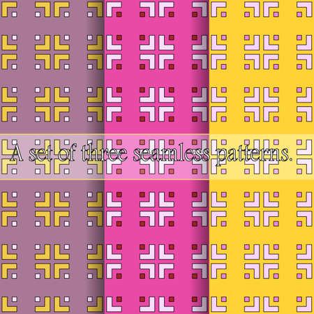 A set of three simple seamless geometric patterns. Bright prints from curly elements of a square shape. Great for decorating fabrics, textiles, gift wrapping, printed matter, interiors, advertising.