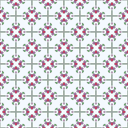 Seamless colored pattern in ethnic style. Abstract flowers with petals in green, purple and dark pink colors, white background. Ideal for any your bold design or advertising project.