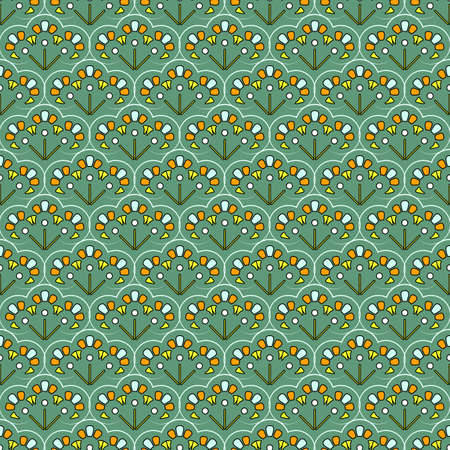 Seamless geometric pattern. Repeating curly elements of three abstract colors, bluish-green background. Great for decorating fabrics, textiles, gift wrapping, printed matter, interiors, advertising.