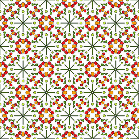 Seamless geometric print in ethnic style. Bright colored mosaic of rounded elements in yellow, red and green tones, white background. A beautiful and stylish decoration for the design of any interior.