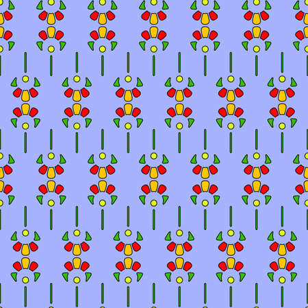Seamless geometric pattern, horizontal borders of large abstract flowers, bright contrasting colors. Great for decorating fabrics, textiles, gift wrapping, printed matter, interiors, advertising.