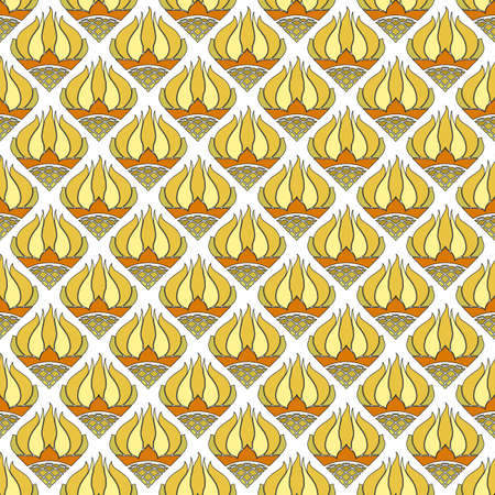 Beautiful seamless floral pattern, stylized yellow with orange sunflowers on a white background. Great for decorating fabrics, textiles, gift wrapping, printed matter, interiors, advertising.