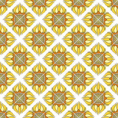 Seamless floral pattern of abstract sunflowers. Yellow with orange flowers on a white background. Great for decorating fabrics, textiles, gift wrapping, printed matter, interiors, advertising. Vector Illustratie