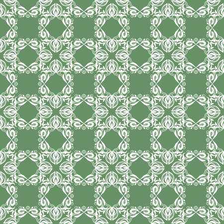 Seamless white lace pattern on a green background. Light abstract print, floral ornament. Great for decorating fabrics, textiles, gift wrapping, printed matter, interiors, advertising.