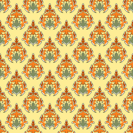 Abstract seamless wallpaper in the style of damask. Curly elements in yellow, orange and green colors. Great for decorating fabrics, textiles, gift wrapping, printed matter, interiors, advertising.
