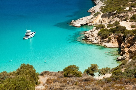 Ship anchored in the bay. Crete. Greece.