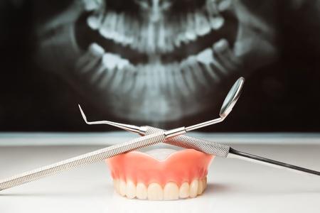 Dental x-ray and dental instruments.