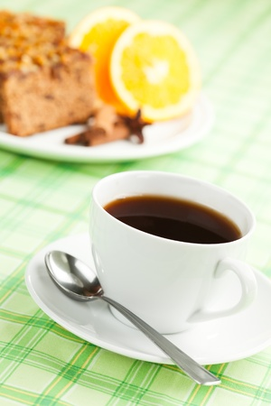 Cup of coffee or tea with gingerbread. photo