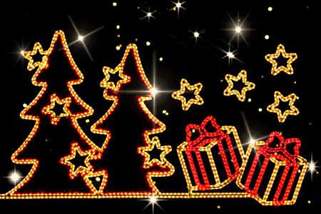 Natale, luci al neon. Archivio Fotografico