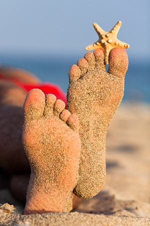 Sandy feet with starfish. Stock Photo